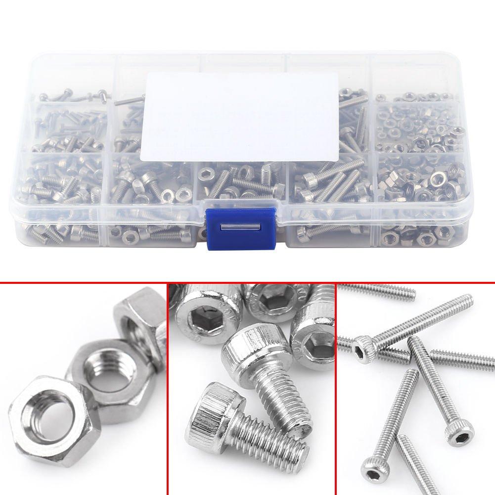 WINGONEER 480pcs M2 M3 M4 304 Stainless Steel Hex Socket Head Cap Screws Nuts Assortment Kit with Box