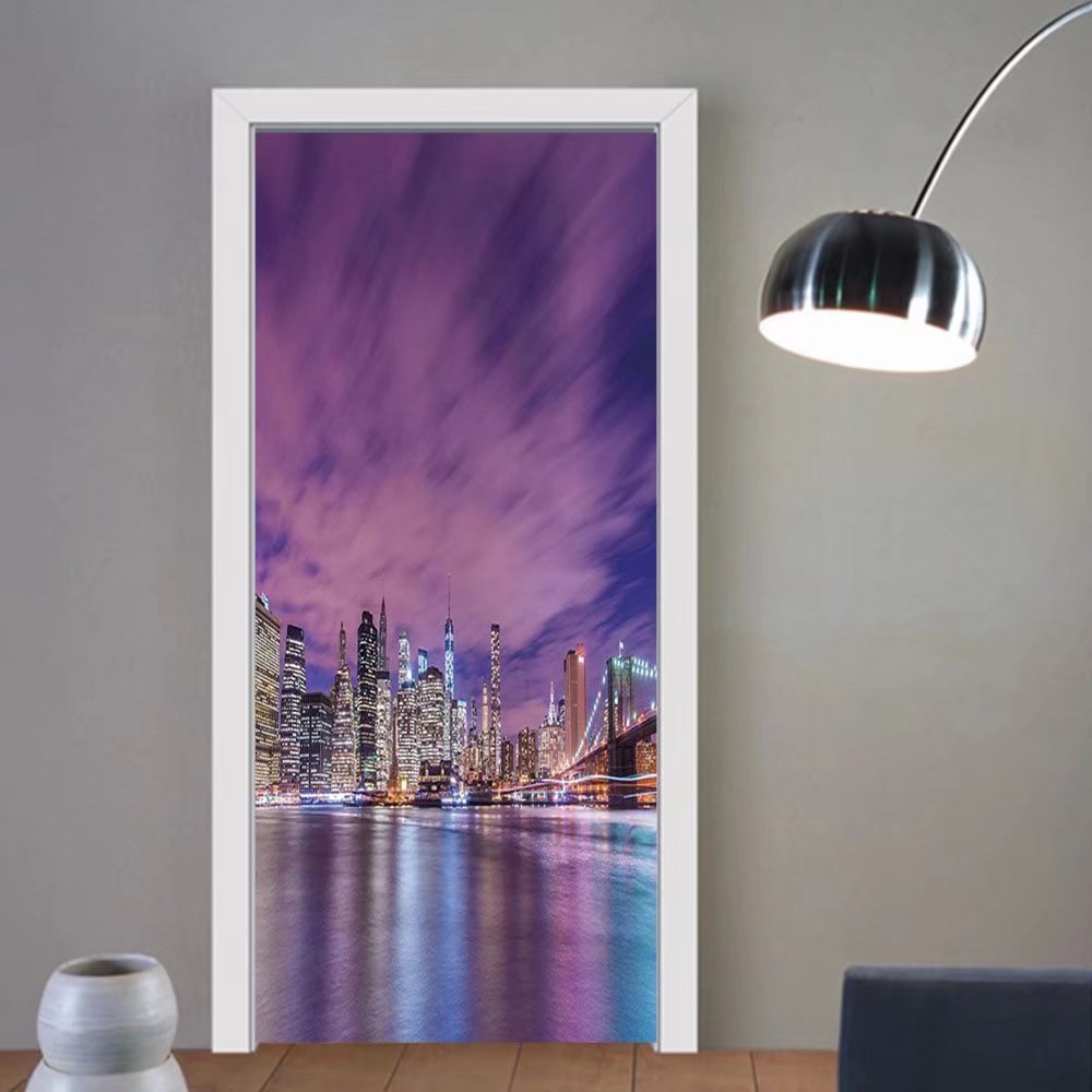 Gzhihine custom made 3d door stickers Modern New York City Skyline at Night with Skyscrapers Manhattan USA American Panorama Violet Purple For Room Decor 30x79