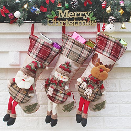 Aitey Christmas Stocking, Set of 3 Santa, Snowman, Reindeer, Xmas Character 3D Plush with Faux Fur Cuff Christmas Decorations and Party Accessory