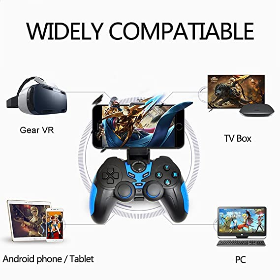 Amazon.com: XFUNY Wireless Bluetooth Game Controller Rechargeable Gamepad for Android / PC / Tablet with Clip and Bag (Blue): Computers & Accessories