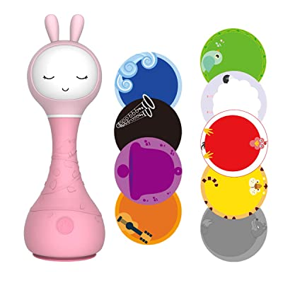alilo Smarty Bunny Shake & Tell Newborn Musical Toy Rattle Teether with Color Learning/Music/Song/Bedtime Story, Chew-Safe Luminous Ears, BPA Free for Kids and Baby (Pink): Musical Instruments