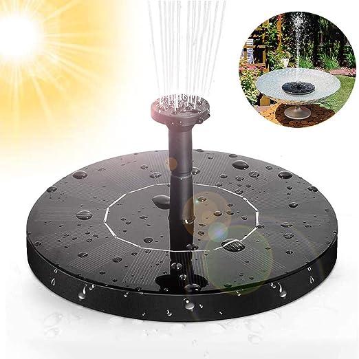 Fuente solar de Massway, bomba de agua solar para estanque de jardín con panel solar monocristalino de 1,4 W, fuente flotante para jardín, piscina de pájaros, estanque, depósito de pescado: Amazon.es: Hogar