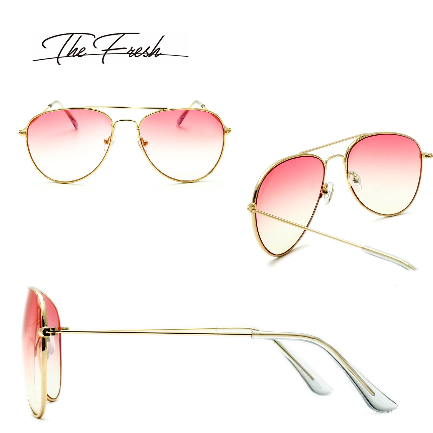 f9602dbd9398d The Fresh Classic Large Metal Frame Oceanic Color Lens Aviator Sunglasses  with Gift Box (Gold