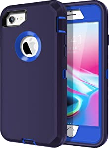 I-HONVA for iPhone 8 Case, iPhone 7 Case Built-in Screen Protector Shockproof Dust/Drop Proof 3-Layer Full Body Protection Heavy Duty Durable Cover Case for Apple iPhone 8/7 4.7-inch, Navy Blue