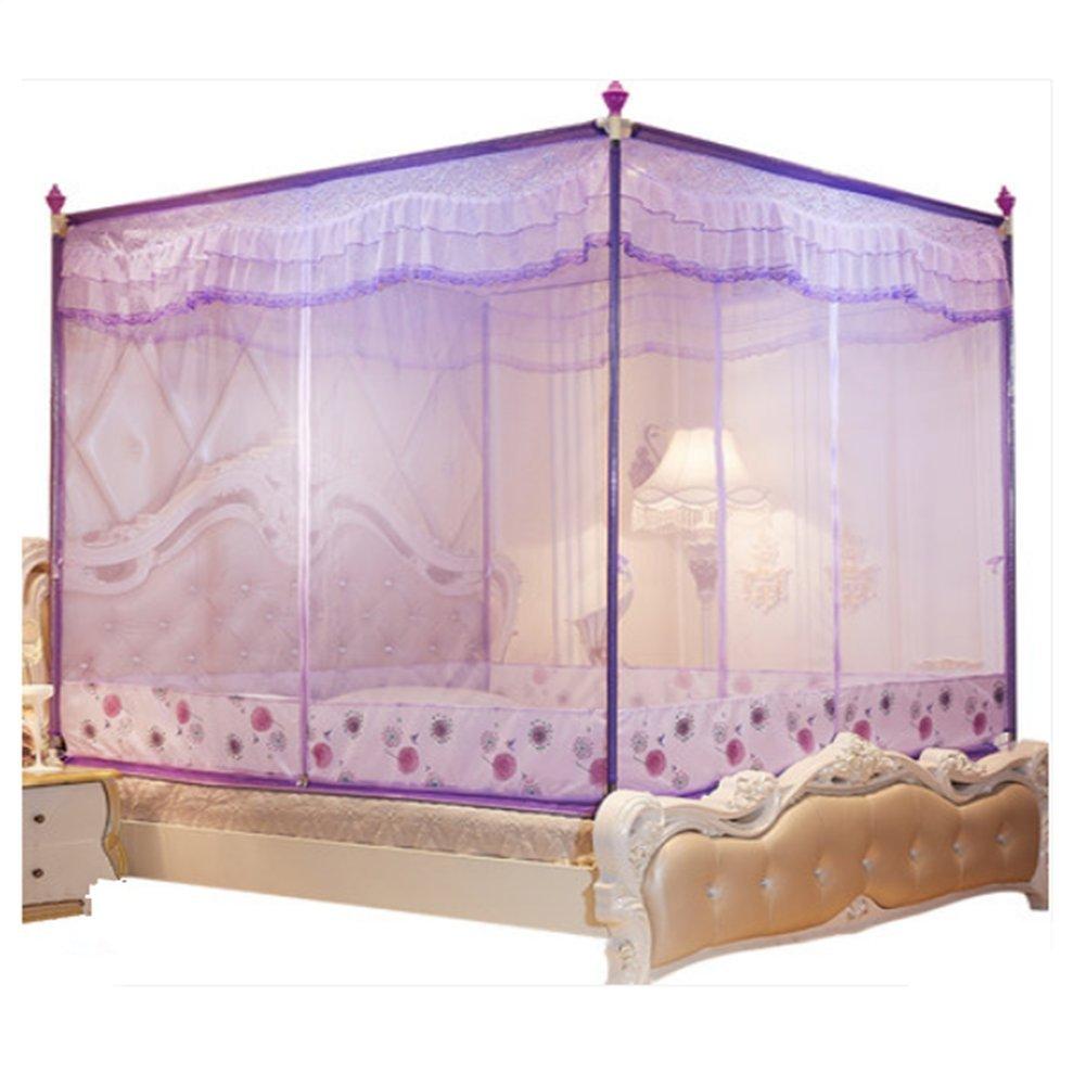 LSS Moskitonetzverschlüsselung Gepolsterte Prinzessin Wind Bett Reißverschluss 1,5 Meter 1,8 M Bett Doppelhaushalt Korn Konto,lila,1.82M