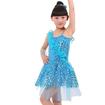 Seawhisper Vestido para niña, danza baile traje lentejuelas ...