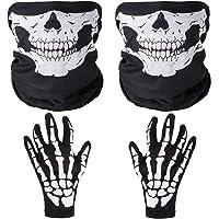 Faburo 2 Piezas Mascaras Calaveras de Cuello Casco Negro y 2 Piezas Cráneo Esqueleto Guantes