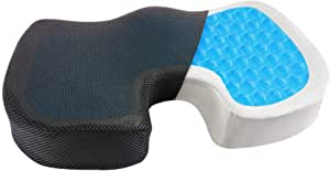 BLOODYRIPPA Ergonomic Coccyx Seat Cushion, Cooling Gel + Memory Foam, Removable Cover, Relieve Sciatica, Back and Tailbone Pain, Ideal for Office, Home, Car (Black Breathable Cover)