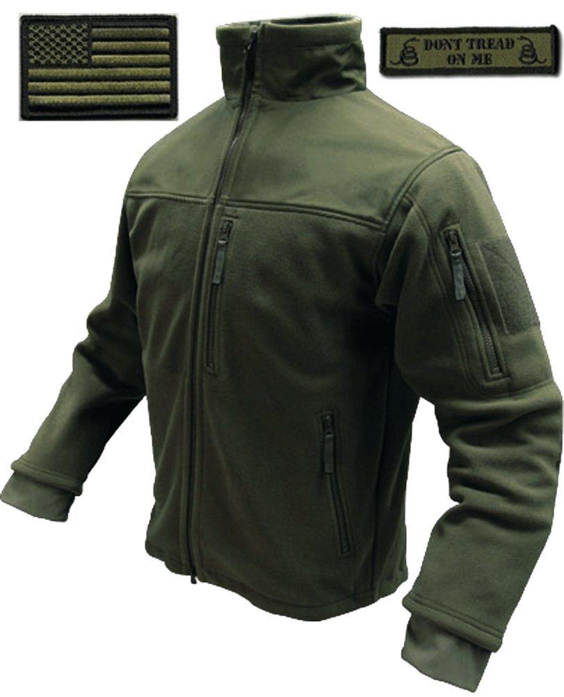 Condor Tac-Jacket (Olive Drab-Large) & USA Flag & Dont Tread Patch - 3 Item-Bundle
