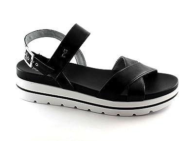 Nero Giardini Black Gardens 17801 Black Women Shoes Platform Sandals Leather  Buckle 37