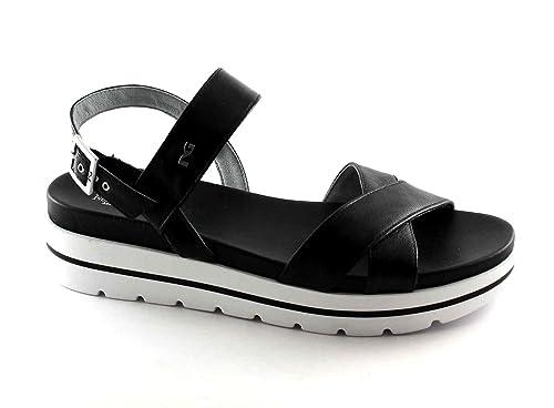 NERO GIARDINI 17801 nero scarpe donna sandali pelle fibbia platform