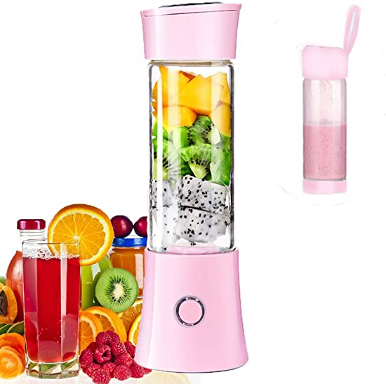 Portable Mini Blender, Juicer Blender Bottle Smoothie Maker with 3D 6 Blades ,USB Rechargeable Juice Mixer 100W 480ML,with 4000mAh Rechargeable Battery, Wireless Personal Fruit Blender Cup for Home,Office,Sports,Travel, Outdoors