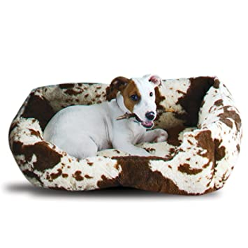 Amazon Com Rod S Plush Fleece Cow Print Dog Bed Large Pet Supplies