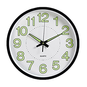 XXBF 12-Inch 30 CM Reloj De Pared Luminoso Reloj De Cuarzo Dormitorio Sala De Estar Reloj De Pared Simple Reloj: Amazon.es: Hogar