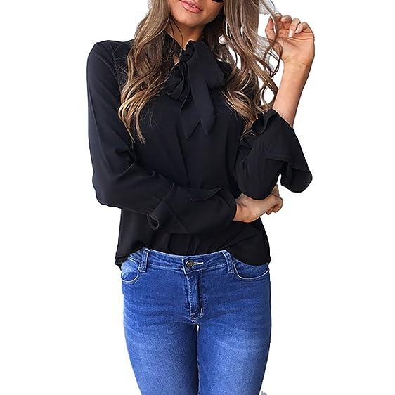 2017 Autumn winter New Women Blouse Shirt Chiffon Blouse Elegant Long Flare Sleeve Shirt Office Tops