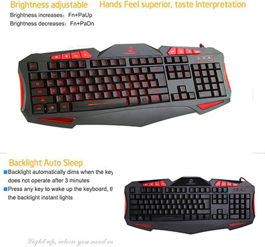 Notebook External Keyboard ZHONGYUE Keyboard Desktop Computer Game Esports Wired Backlight USB Keyboard Mechanical Feel Style : E