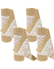 Time to Sparkle TtS Jute Hessian Table Runners Lace Sewed Edge Rustic Burlap Wedding Table Decor