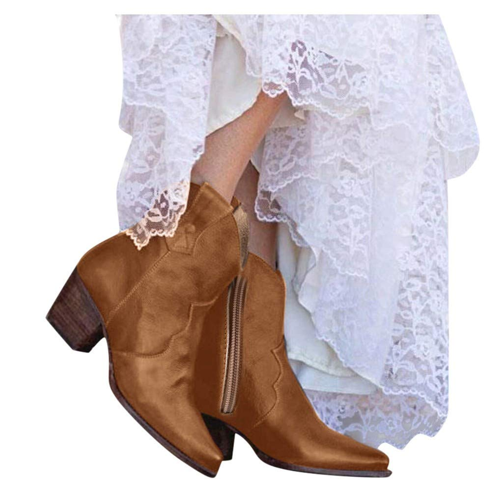 Women's Ankle Knee Side Zip Bare Boots Square Heel Casual Short Booties Fashion Slouch Ankle Booties Yellow by Frunalte Women Shoes