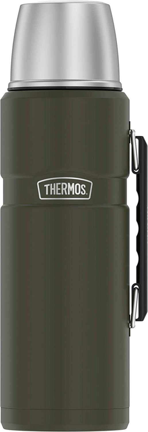Thermos 2-Liter Stainless King Vacuum-Insulation Beverage Bottle (Army Green), one size