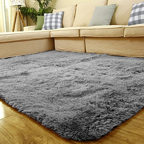 Sytian Large Size 4 Feet X 5 Feet 4.5cm Thick Decorative Modern Shaggy Area Rug Super Soft Silky Bedroom Living Room Sitting-room Carpet Non Slip Absorbent Bath Mat Kids Playing Mat (Grey) by Stay Young