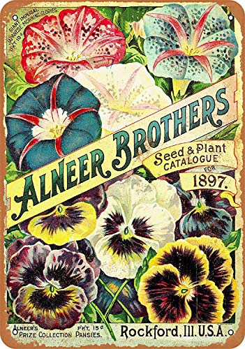 Bidesign 8 x 12 Metal Sign - Vintage Look 1897 Alneer Brothers Seeds and Plants (Vintage Seed Signs)