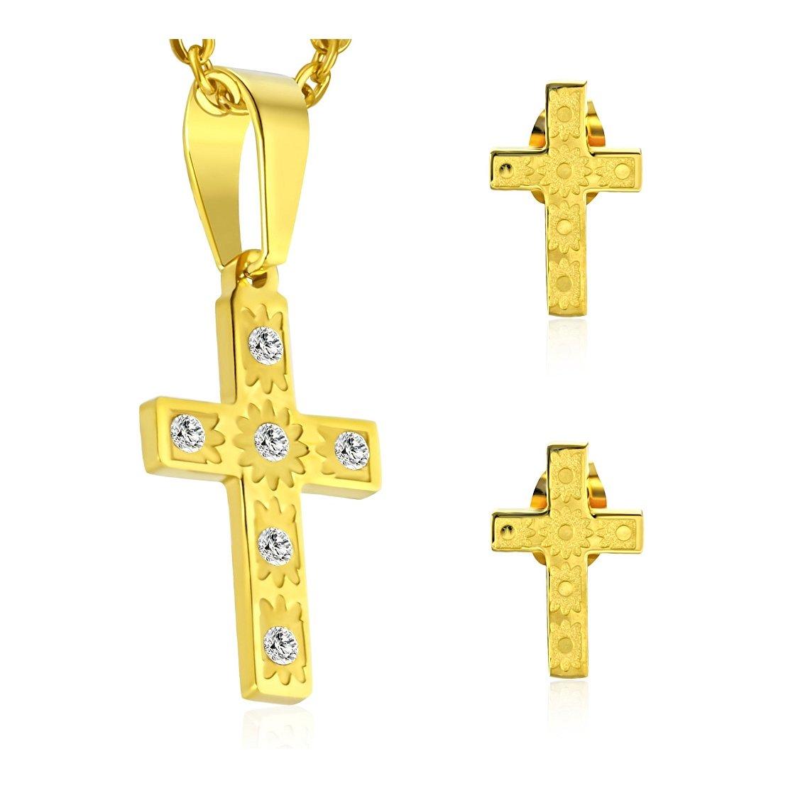 Couleur or plaqué acier inoxydable Fleur Croix latine Charm pendentif & Paire de boucles d'oreille à tige avec zircone transparente (lot) NRG Steel Jewellery 205-OAP572