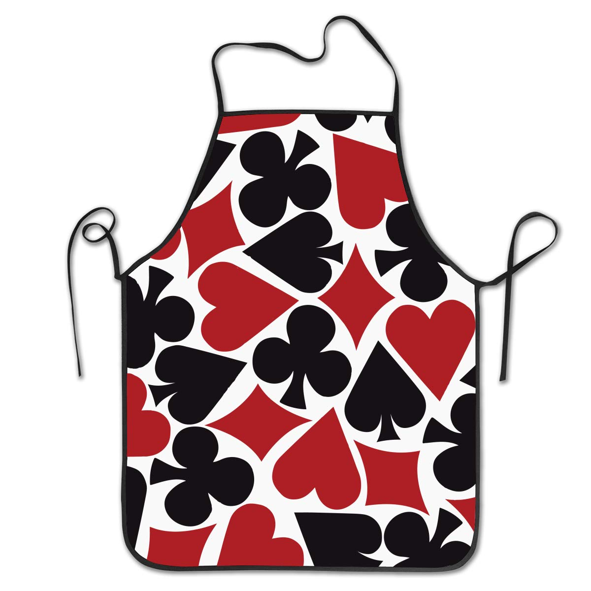 OKAYDECOR Novelty Waterproof Retro Kitchen BBQ Craft Bib Apron Dress for Women Men Poker Heart Square Pattern