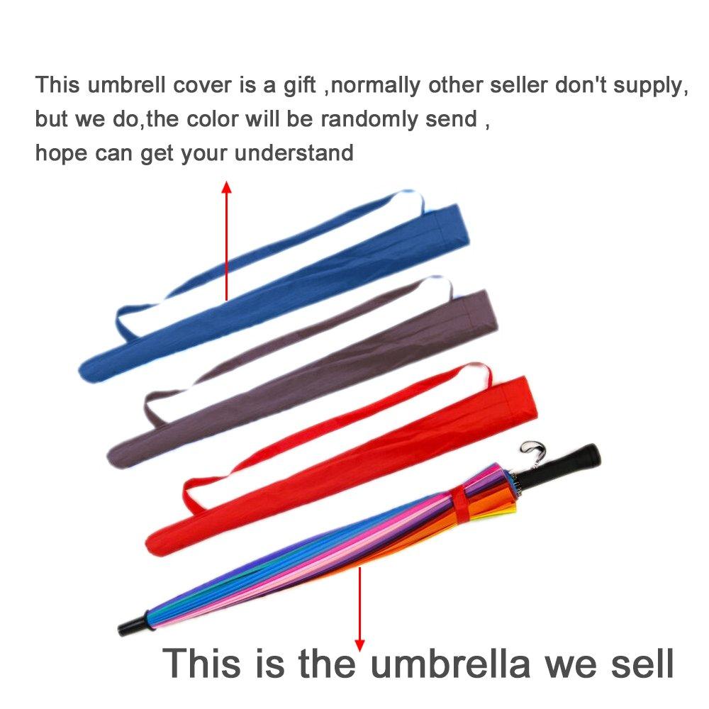 Qich/® Free Shipping Top Quality 24k Color Rainbow Fashion Long Handle Straight Sun//Rain Stick Umbrella Manual Paraso