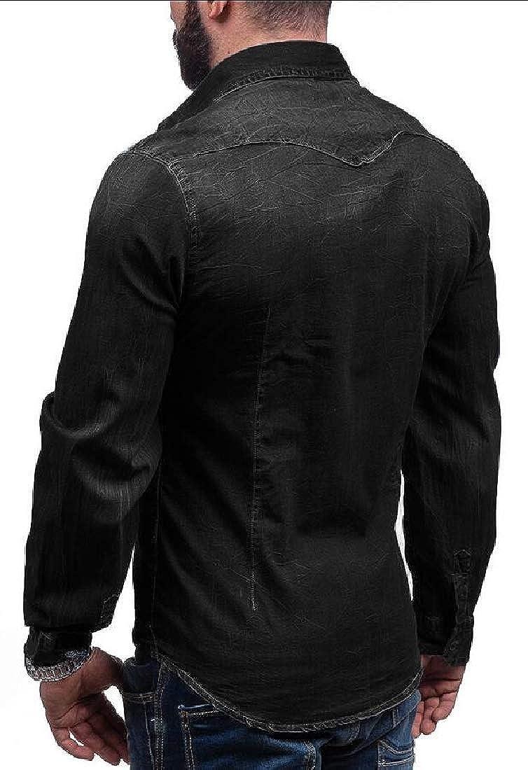 Keaac Mens Button Down Dress Shirts Long Sleeve Denim Shirt