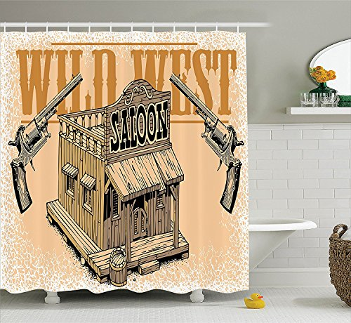 Saloon Decor Collection Saloon from the Wild Wide West Old Fashioned Guns Weapons Fight Club Rustic Image Polyester Fabric Bathroom Shower Curtain Set with Hooks Sandy Black (Old West Saloon Girl Costume)