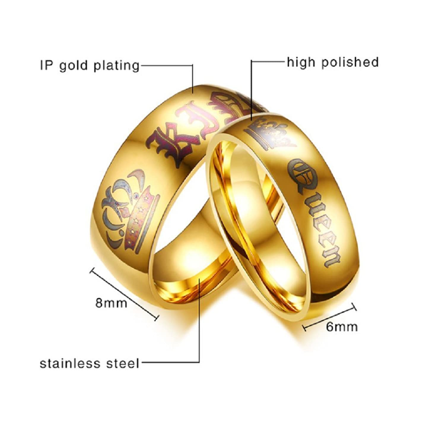 Newest Her King Ring Mens Stainless Steel Anniversary Rings