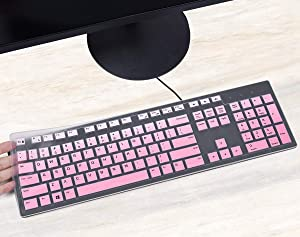 CASEDAO Keyboard Cover Compatible with Dell KB216 KB216p / KM636 Wireless Keyboard, Dell Optiplex 5250/3050/3240/5460/7450/7050,Dell Inspiron AIO 3475/3670/3477 All-in one Desktop(Gradual Pink)