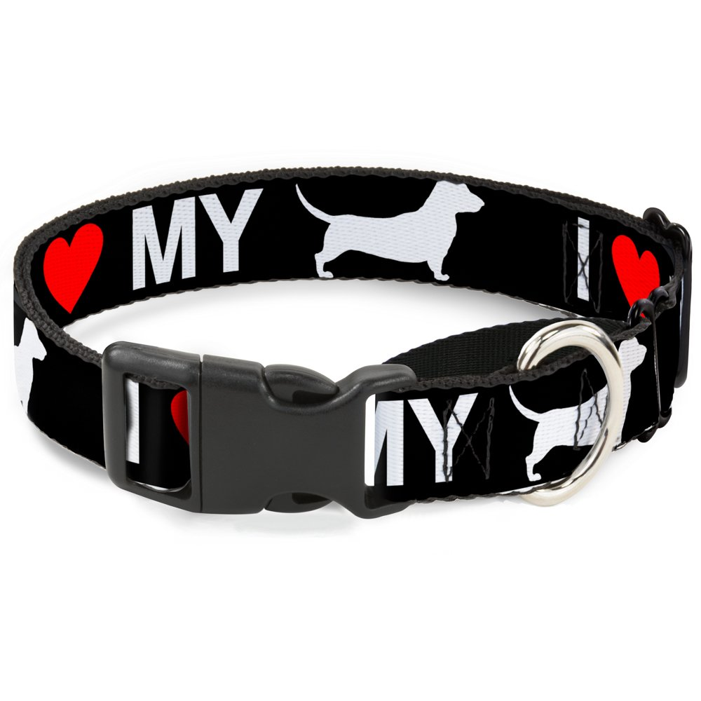 Buckle-Down MGC-W30969-M I Heart  My Wiener  Dog Silhouette Black White Red Martingale Dog Collar, Medium