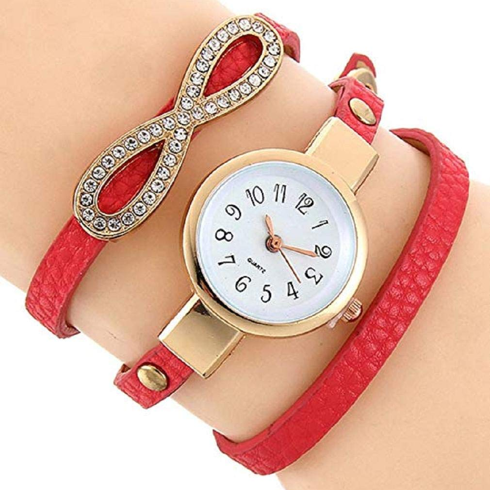 Fashion Clearance Watch! Noopvan Womens Bracelet Watches on Sale 8 Pattern Lady Watches Female Watches Quartz Analog Leather Cheap Watches for Women-A127 (Red)
