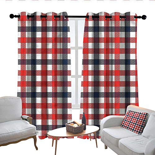 Lewis Coleridge Decor Curtains by Vintage,Checkered Gingham Plaid,Wide Blackout Curtains, Keep Warm Draperies, Set of 2 - Gingham Tab Top Basics