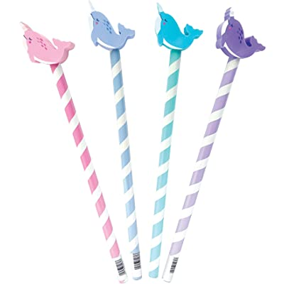 The Piggy Story 'Magical Narwhals' Set of 4 Pencils with Die-Cut Eraser Toppers: Toys & Games