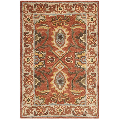 Safavieh Heritage Collection HG734D Handcrafted Traditional Oriental Rust and Beige Wool Area Rug (2' x (Rust Rug)