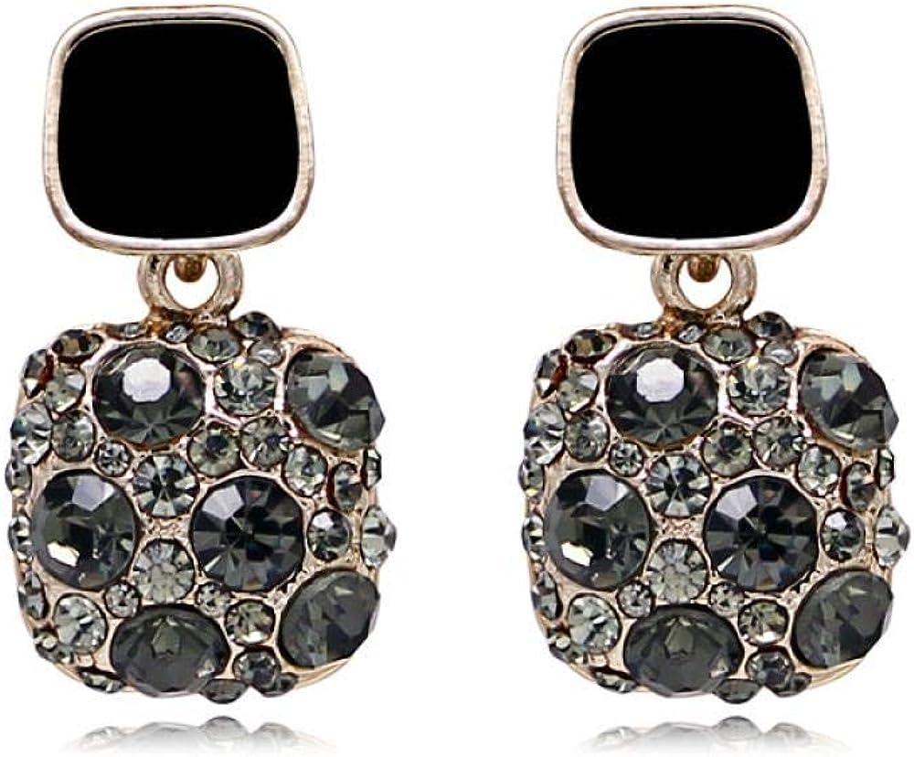 Pendientes Mujer Pendientes cuadrados, diamantes completos, pendientes de piedras preciosas artificiales, oro galvanizado, 1.5 * 2.8cm, aguja de plata s925