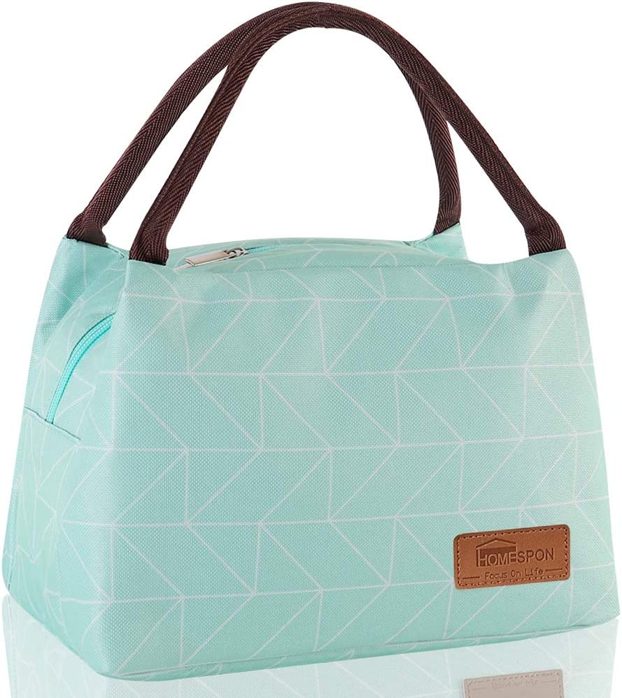 Homespon Lunch Bag Insulated Lunch Box Reusable Food Tote Large Handbag Leakproof Waterproof Keep Warm/Cool/Fresh for Adults,Children to Office,School,Picnic,blue-green