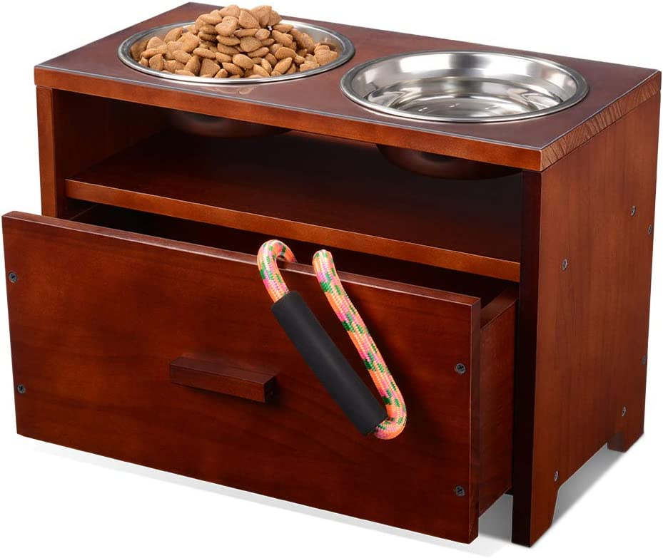 XCSOURCE Elevated Dog Bowl Raised Pet Feeder Stand Wooden Dog Feeding Station with Storage Drawer for Medium Pets with 2 Stainless Bowls and Waterproof Pad (Need Assemble)