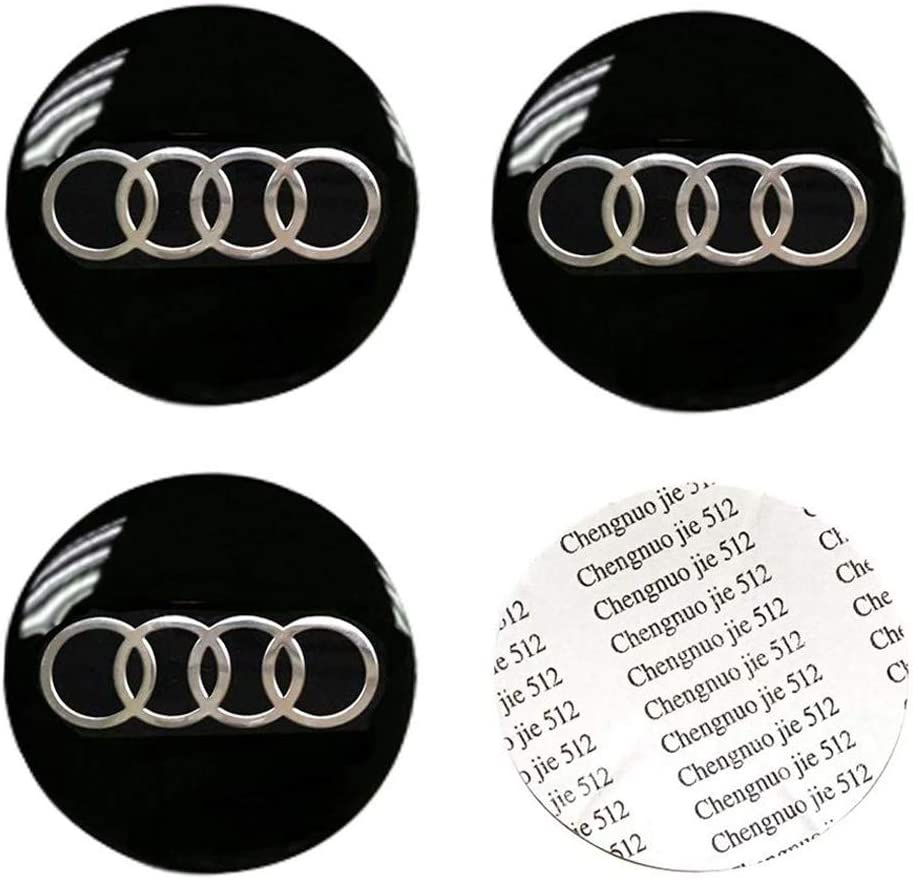DIYcarhome 4PCS 56.5mm//2.2inch Auto Car Sticker Wheel Center Hub Cap Logo Aluminium fit for Audi