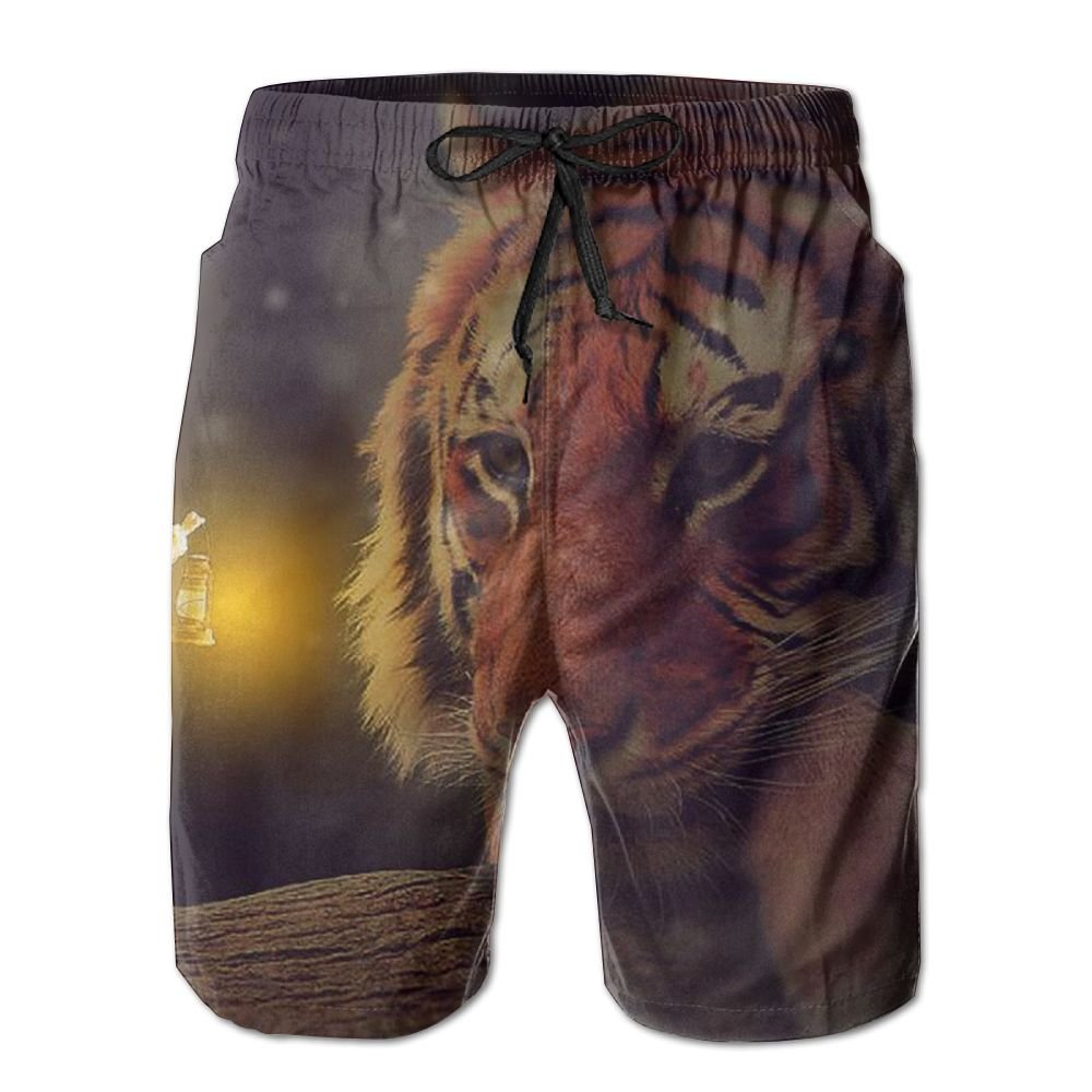 Tiger Mens Beach Board Shorts Quick Dry Summer Casual Swimming Soft Fabric with Pocket