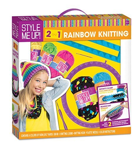 Style Me Up! 2 in 1 Rainbow Knitting Kit - Create your Very Own Beanie Hat or Infinity Scarf