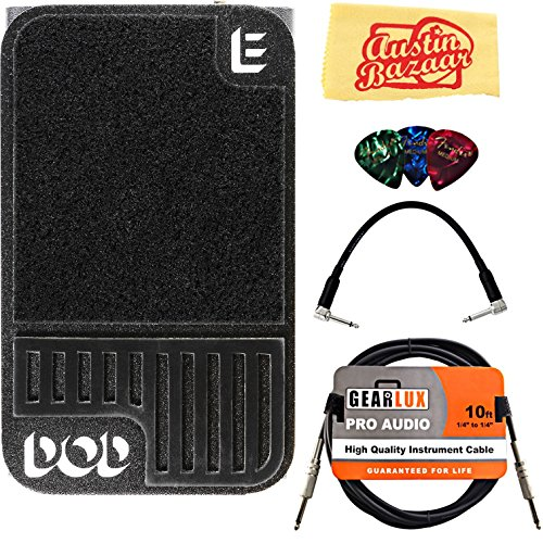 DigiTech DOD Mini Expression Pedal Bundle with Instrument Cable, Patch Cable, Picks, and Austin Bazaar Polishing Cloth by DigiTech