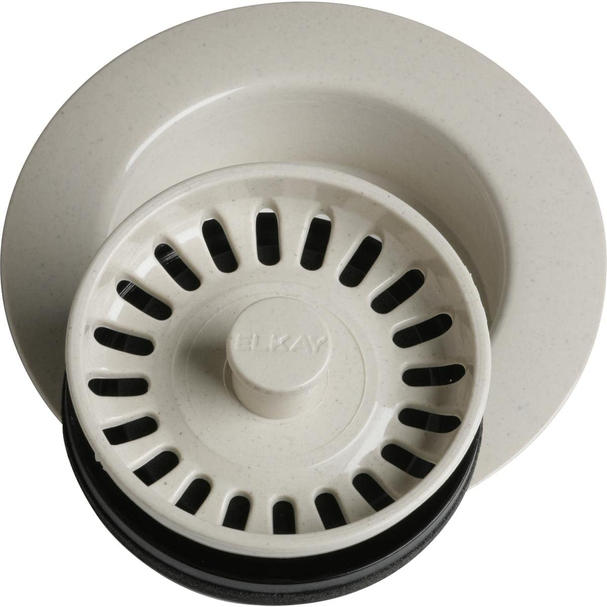 Elkay LKD35BQ Polymer Disposer Flange Fitting with Removable Basket Strainer and Rubber Stopper, Bisque