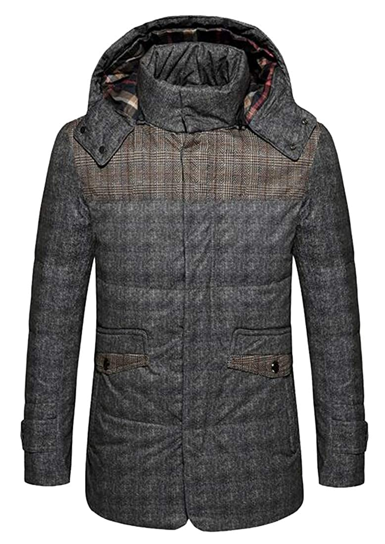 OTW Mens Thermal Detchable Hooded Winter Checkered Longline Down Coat Jacket Outerwear
