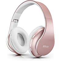 Bluetooth Headphones Wireless,MKay Over Ear Headset V5.0 with Microphone, Foldable & Lightweight, Support Tf Card MP3 Mode and Fm Radio for Cellphones Laptop TV-Rose Gold