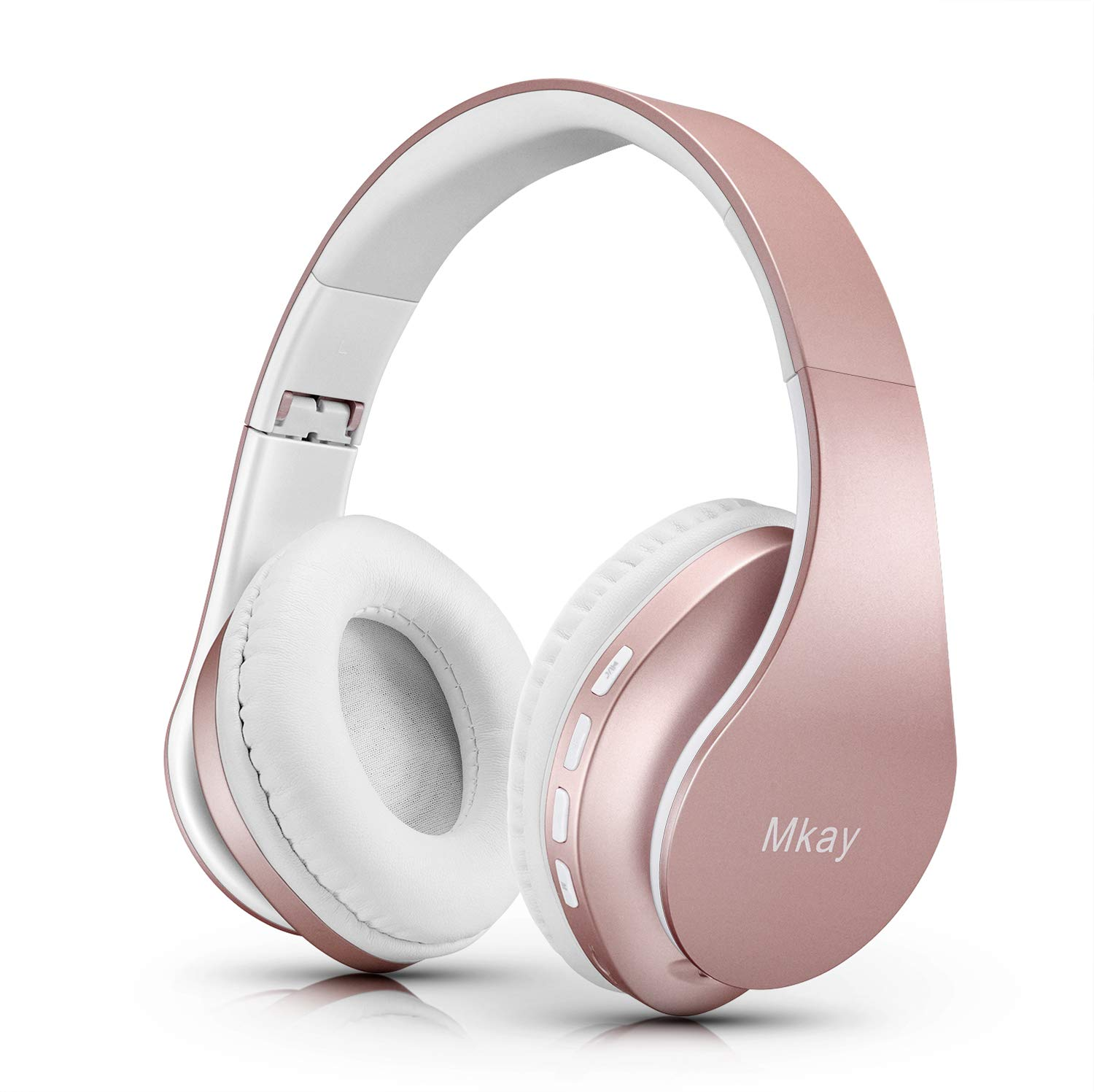 MKay Bluetooth Headphones Wireless, Over Ear Headset V5.0 with Microphone, Foldable & Lightweight, Support Tf Card MP3 Mode and Fm Radio for Cellphones Laptop TV-Rose Gold