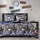 4 piece kids boys grey blue camouflage coverlet full queen set army camo bedding navy