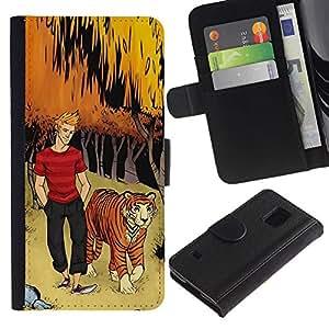 KLONGSHOP / Tirón de la caja Cartera de cuero con ranuras para tarjetas - Forest Man Dude Boy Kids - Samsung Galaxy S5 V SM-G900